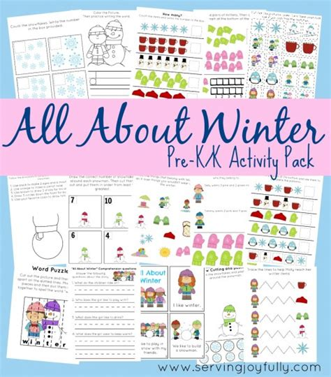 free kindergarten printables 25 pages winter free