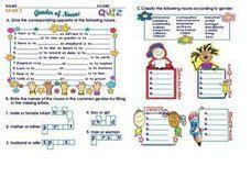 gender of nouns grade 3 worksheet for 3rd 4th grade