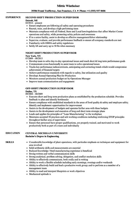 Production Supervisor Resume by Shift Production Supervisor Resume Sles Velvet