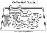 Coloring Coffee Doughnut Doughnuts Chocolate Donut Printable Tea Jam Sheets Hard Drawing Adults Sprinkles Chibi Drink Cream Yummy Strawberry Sticky sketch template
