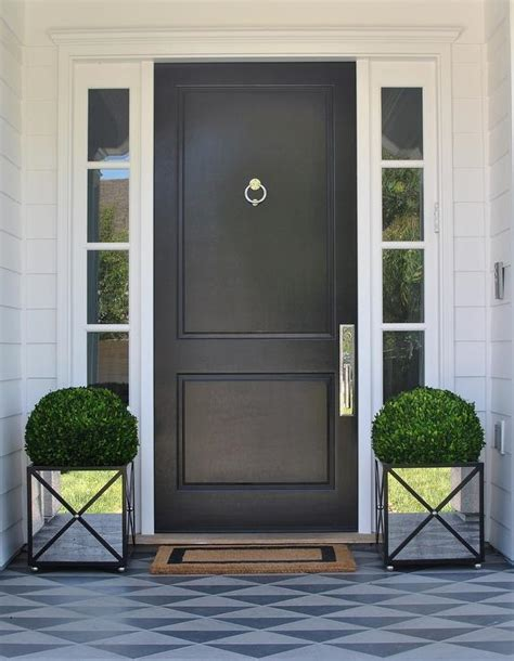 polished nickel hardware white interior front door design ideas