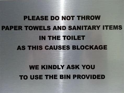 throw paper towels toilet sign aluminium