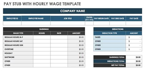 pay stub template excel free pay stub templates smartsheet