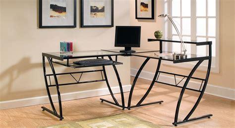 glass l desk z line belaire glass l shaped computer desk review