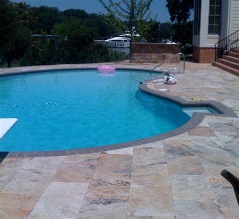 best pool deck material travertine pool 1