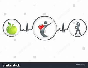 Wellness Healthy Heart Symbol Healthy Food Stock Vector ...