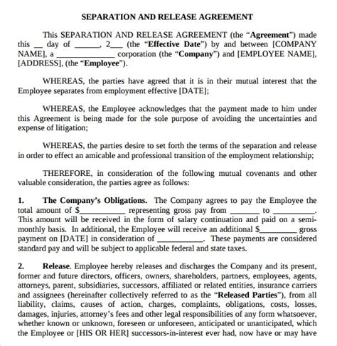 sample separation agreement template   documents