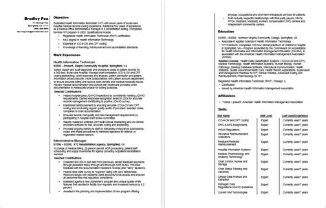 Resume Templates For Health Information Technology by Health Information Technician Sle Resume
