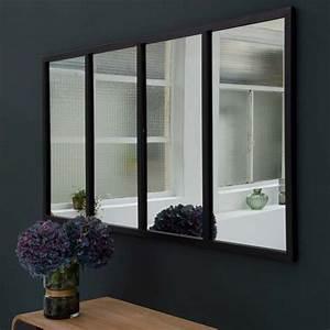 Miroir Style Verriere : miroir atelier g ant rectangulaire en m tal noir decoclico ~ Melissatoandfro.com Idées de Décoration