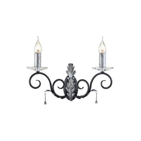 twin or double candle style wall light in black with