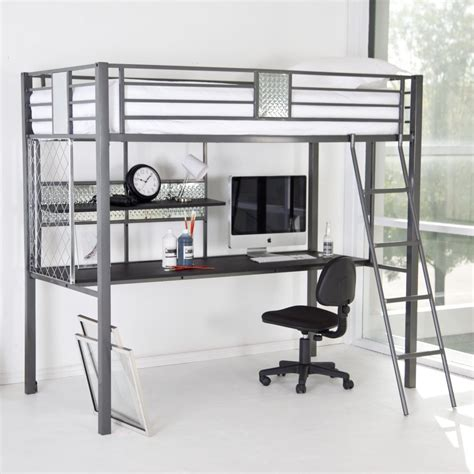 bunk bed with computer desk modern silver polished iron loft bunk bed with gray metal