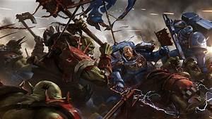 Space Marines vs Orks. Wallpaper from Warhammer 40K ...