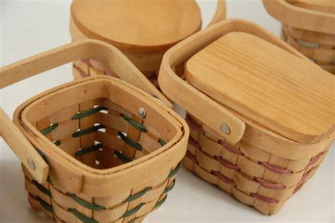 Tiny 3.5 Inch Chipwood Picnic Baskets