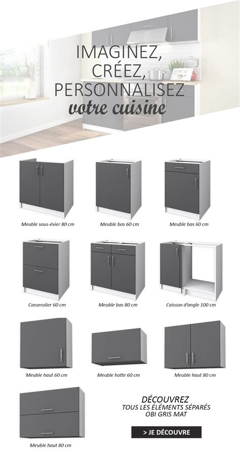 caisson angle cuisine obi meuble de cuisine angle réversible l 100 cm gris mat