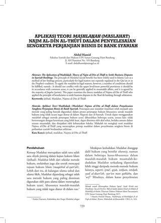 Aplikasi teori mashlahah (maslahat) najmu al dîn al thûfî