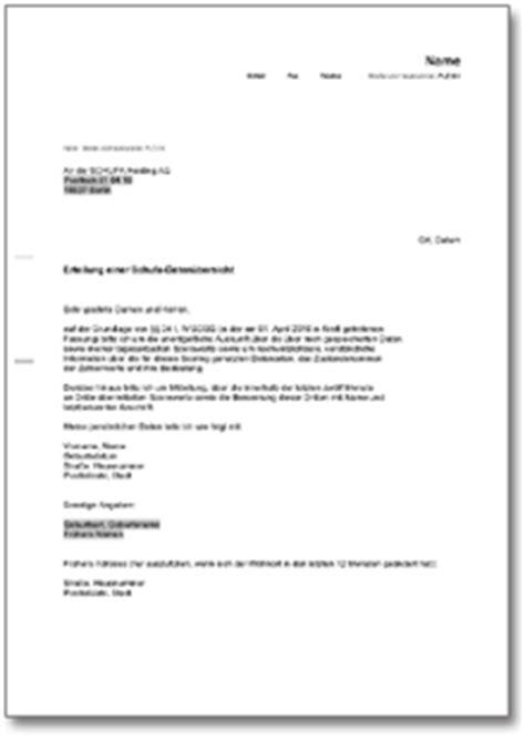 Schufa Auskunft Für Vermieter Kostenlos by Schufa Eigenauskunft De Musterbrief