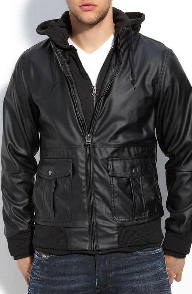 foto de Obey Rapture Hooded Faux Leather Bomber Jacket in Black