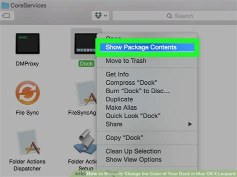 how to manually change the color of your dock in mac os x