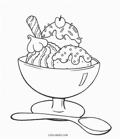 Ice Cream Coloring Pages Sundae Printable Drawing