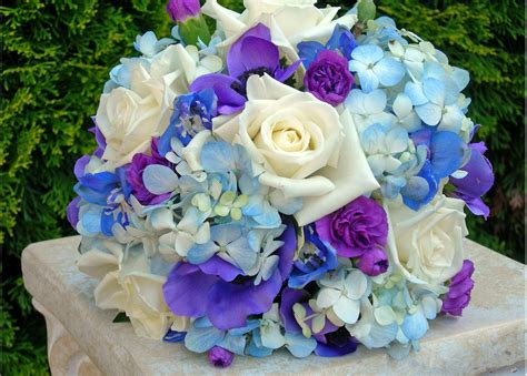 Blue And White Wedding Bouquets Bb0023a Blue Purple