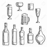 Liquor Beer Bottles Alcohol Whiskey Bottle Clipart Sketch Wine Glasses Drawing Vodka Line Supporting Sterke Cocktail Filled Beverages Mixed Icons sketch template