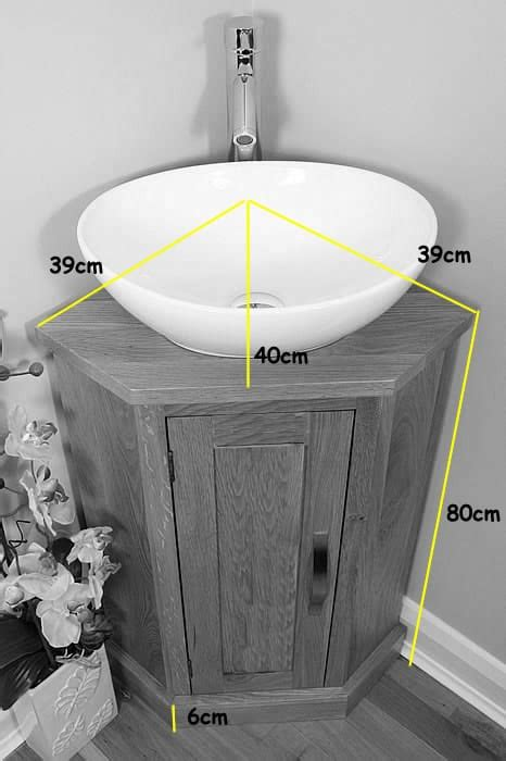 corner vanity unit with oak top amp your choice of bathroom