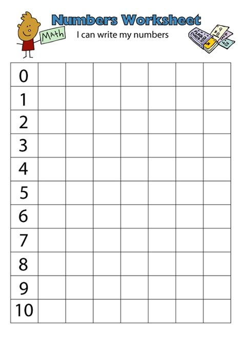 Spreadsheet Numbers Number 1 10 Worksheets Printable Activity Shelter