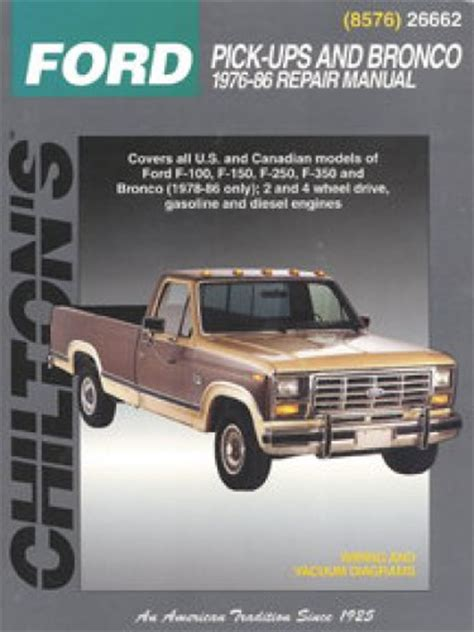service and repair manuals 1986 ford bronco ii electronic throttle control chilton ford pick ups and bronco 1976 1986 repair manual