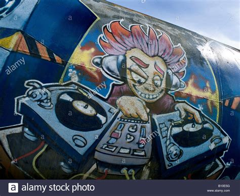 Graffiti Dj : Cartoon Graffiti Dj With Twin Decks Stock Photo, Royalty