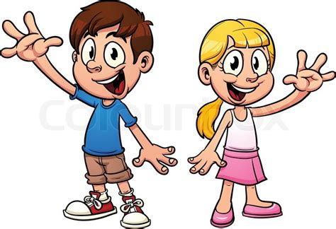 Cute Cartoon Kids Waving Hello. Vector Illustration With