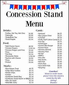 concession stand menu bear creek baseball With concession stand menu template