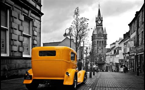 Vintage Yellow Car In A Gray City Wallpapers HD / Desktop and Mobile Backgrounds