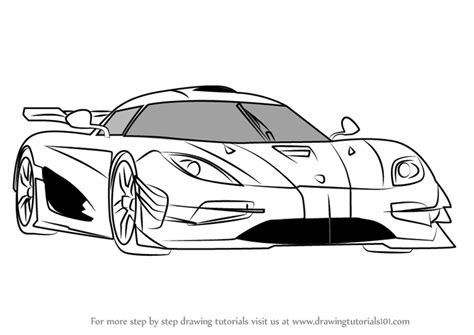 koenigsegg car drawing learn how to draw koenigsegg one sports cars step by