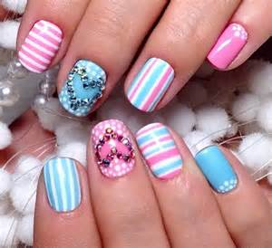 Nails fashion girly nail art pastel spring stripe
