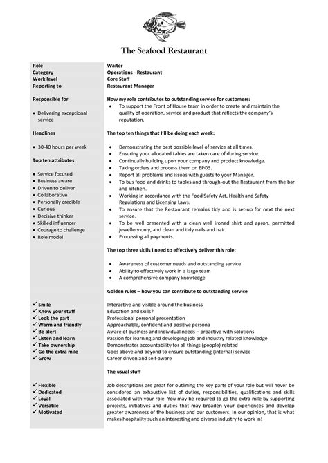 sample waiter resume waitress responsibilities resume samples resume ideas