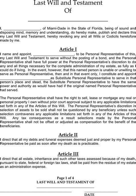 Last Will And Testament Template California by Florida Last Will And Testament Form Free