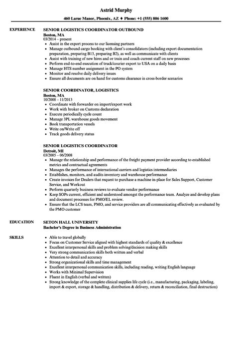 senior logistics coordinator resume samples velvet jobs