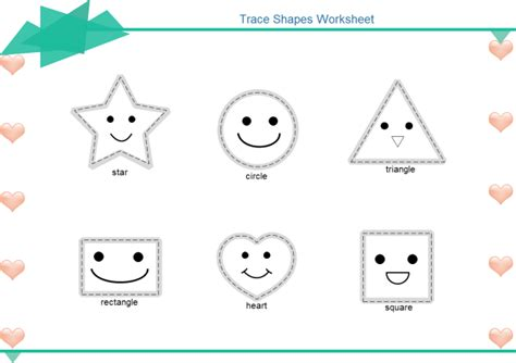 free tracing shapes worksheets for preschoolers