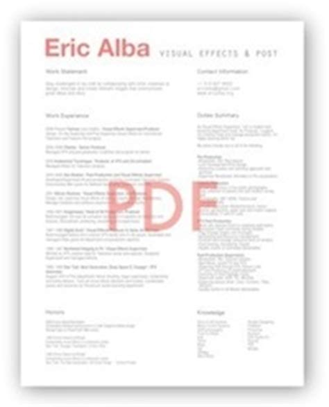 Vfx Supervisor Resume by Resume Eric Alba Visual Effects Post Production