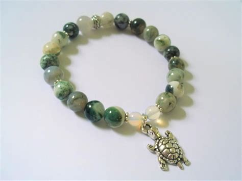 Ocean Jasper Yoga Stretch Bracelet With Turtle Charm