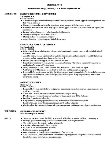 Salesforce Com Administrator Resume - Salesforce Administrator Resume