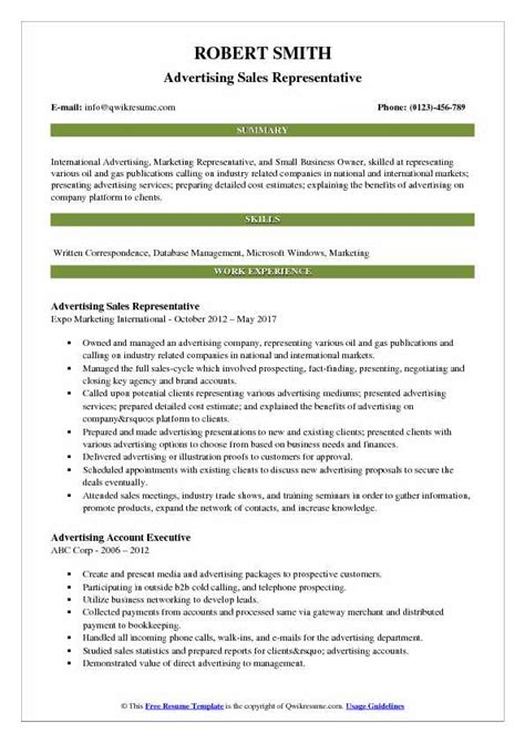 Advertising Sales Resume by Advertising Sales Representative Resume Sles Qwikresume