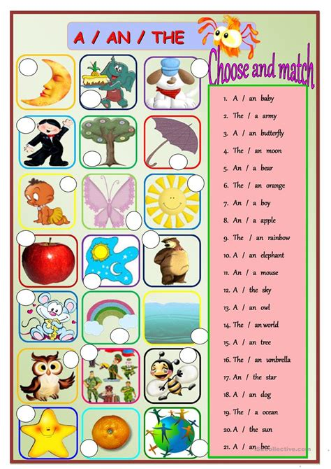 a an the worksheet free esl printable worksheets made by