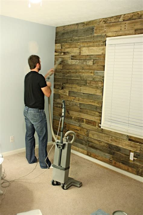 pallet wood accent wall diy wood pallet accent wall tutorial for the home pinterest
