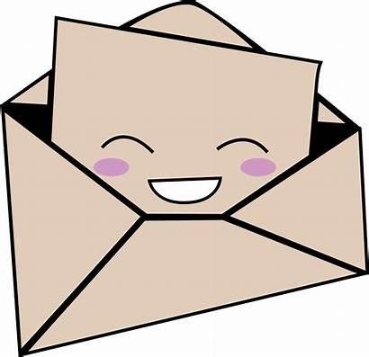 Envelope Clipart Cartoon Letter Transparent Kawaii Mail