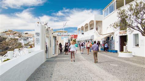 Santorini Greece Tourists Exploring Thira Town Streets