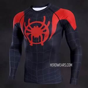 Rash Guard Size Chart Miles Morales Compression Shirt Long Sleeve Rashguard