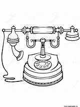 Phone Telephone Coloring Retro Antique Fashioned Outline Clipart Illustrations Printable Illustration Royalty Dreamstime sketch template