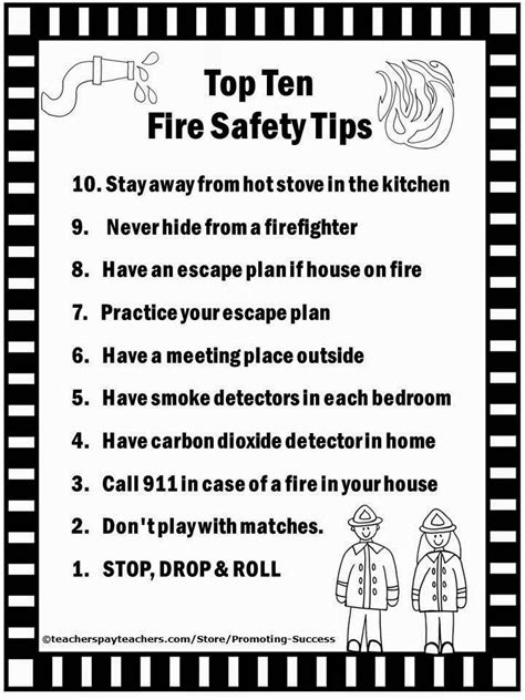 top  home  safety tips fire safety worksheets