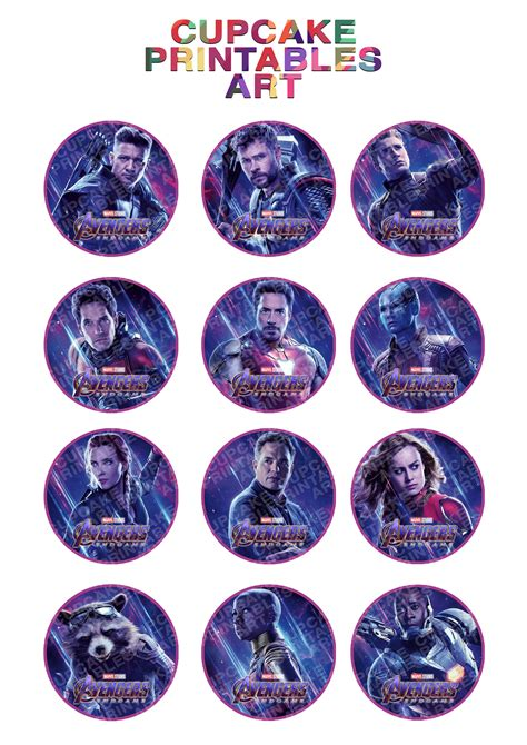avengers engame printable cupcake toppers thanos marvel